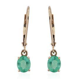 14K White Gold 1.15 Carat Boyaca Colombian Emerald Lever Back Earrings