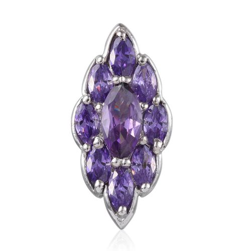 ELANZA AAA Simulated Tanzanite (Mrq) Pendant in Platinum Overlay Sterling Silver