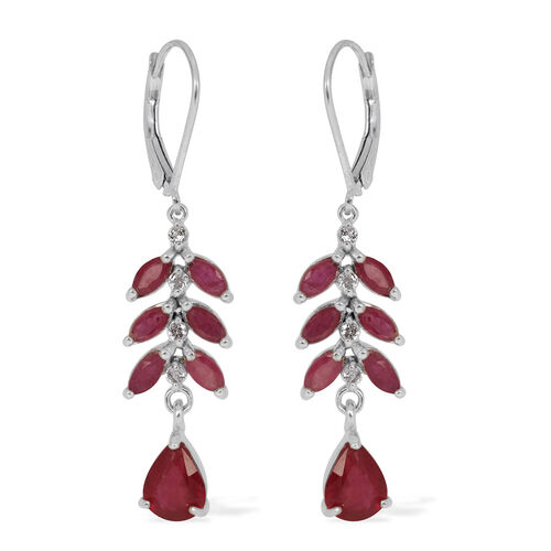 African Ruby (Pear), White Topaz Lever Back Earrings in Rhodium Plated Sterling Silver 5.750 Ct.