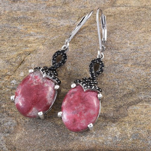 Norwegian Thulite (Ovl), Boi Ploi Black Spinel Earrings in Platinum Overlay Sterling Silver 22.250 Ct.