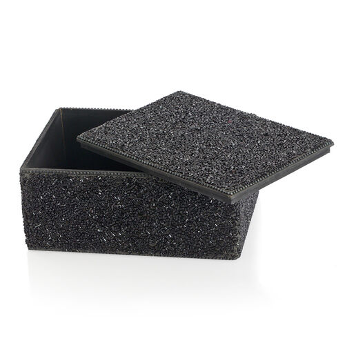Home Decor - Black Colour Seed Beaded Handmade Box (Size 18x12.5x7.5 Cm)