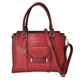 Crock Embossed Burgundy Colour Tote Bag with External Zipper Pocket and Adjustable and Removable Shoulder Strap (Size 34x26x14 Cm)