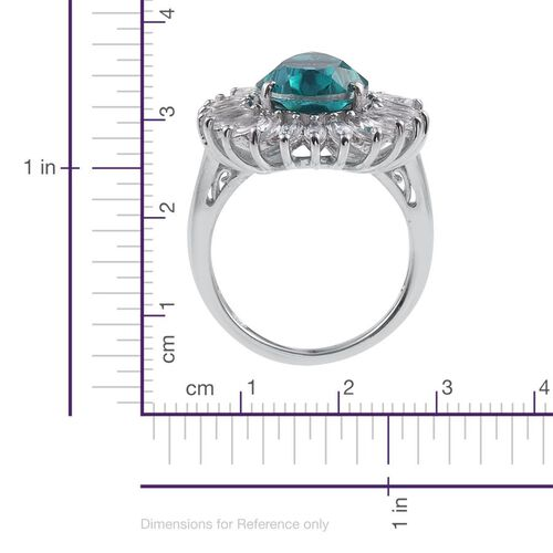Capri Blue Quartz (Pear 6.00 Ct), White Topaz Ring in Platinum Overlay Sterling Silver 8.400 Ct.