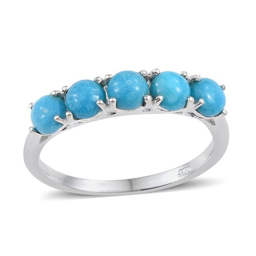 Kingman Turquoise (Rnd) 5 Stone Ring in Sterling Silver 1.250 Ct.