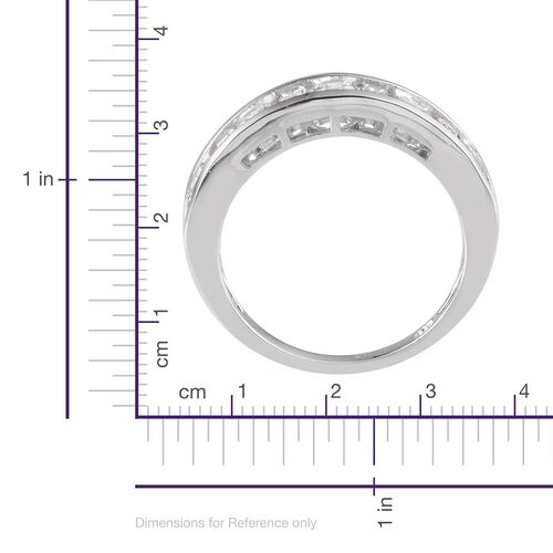 J Francis - Platinum Overlay Sterling Silver (Rnd) Half Eternity Ring Made with SWAROVSKI ZIRCONIA