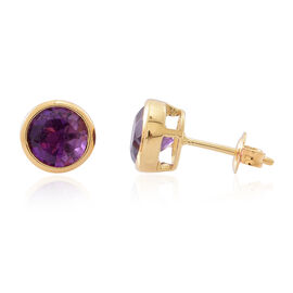 Amethyst (Rnd) Stud Earrings (with Push Back) in 14K Gold Overlay Sterling Silver 2.500 Ct.