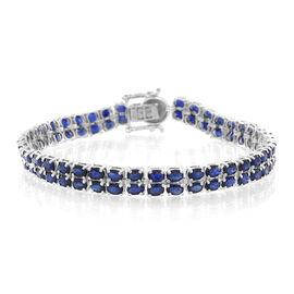 AAA Kanchanaburi Blue Sapphire (Ovl) Bracelet (Size 7.5) in Rhodium Plated Sterling Silver 18.500 Ct.