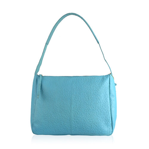 Genuine Leather RFID Blocker Filigree Pattern Pastel Blue Colour Handbag with External Zipper Pocket (Size 36X28X16 Cm)