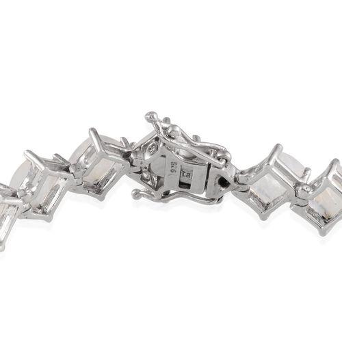 Ceylon Rainbow Moonstone (Bgt) Bracelet in Platinum Overlay Sterling Silver (Size 8) 26.000 Ct.