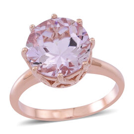 Rose De France Amethyst (Rnd) Solitaire Ring in Rose Gold Overlay Sterling Silver 4.250 Ct.