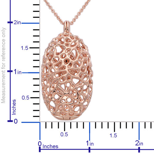 RACHEL GALLEY Rose Gold Overlay Sterling Silver Charmed Pebble Necklace (Size 30), Silver wt 24.72 Gms.