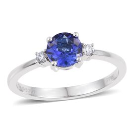 RHAPSODY 950 Platinum 0.90 Carat AAAA Tanzanite Round Solitaire Ring with Diamond VS E-F.