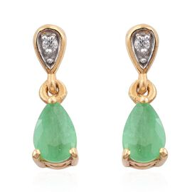 Kagem Zambian Emerald (Pear), Natural Cambodian Zircon Tear Drop Earrings (with Push Back) in 14K Gold Overlay Sterling Silver 0.750 Ct.