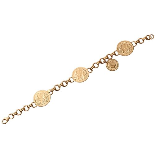 Stefy Pink Sapphire (Rnd) Bracelet (Size 7.50) with Coin in 14K Gold Overlay Sterling Silver
