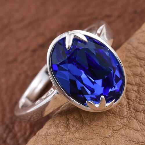 J Francis Crystal from Swarovski - Sapphire Colour Crystal (Ovl) Solitaire Ring in Sterling Silver