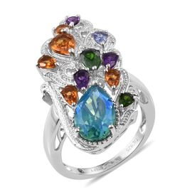 Stefy Peacock Quartz (Pear 3.25 Ct), Citrine, Russian Diopside, Tanzanite, Amethyst and Pink Sapphire Ring in Platinum Overlay Sterling Silver 5.750 Ct.