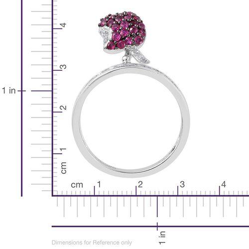 GP Burmese Ruby (Rnd), Kanchanaburi Blue Sapphire and Diamond Apple Charm Ring in Platinum Overlay Sterling Silver 0.970 Ct.