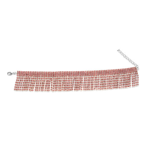 Pink Austrian Crystal Bracelet (Size 9 with 2 inch Extender) in Silver Tone