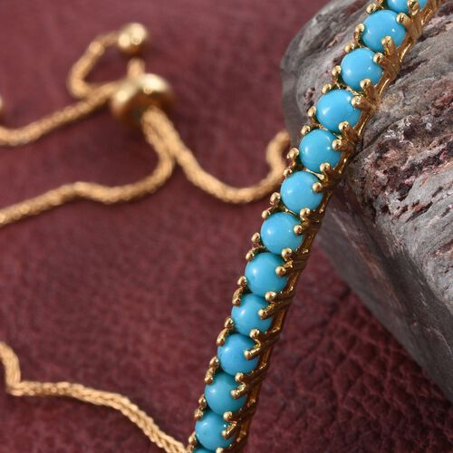 Arizona Sleeping Beauty Turquoise 1.50 Ct Silver Adjustable Bracelet in Gold Overlay (Size 6.5 to 8.5)