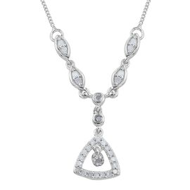 Diamond 0.30 Carat Silver Necklace (Size 20) in Platinum Overlay.