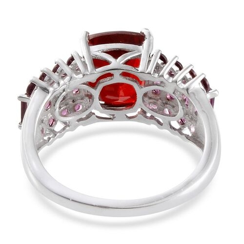 Ruby Quartz (Cush 3.25 Ct), Rhodolite Garnet Ring in Platinum Overlay Sterling Silver 5.550 Ct.