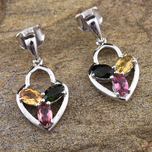 Rainbow Tourmaline (Ovl) Earrings (with Push Back) in Platinum Overlay Sterling Silver 1.000 Ct.