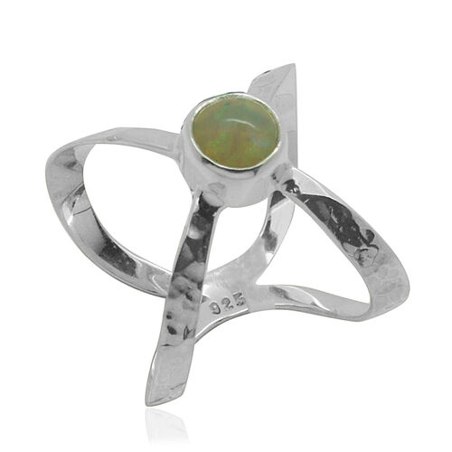 Royal Bali Collection Ethiopian Welo Opal (Rnd) Solitaire Ring in Sterling Silver 0.870 Ct.