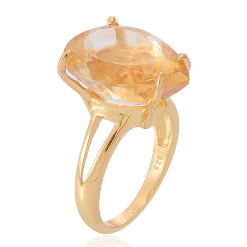 AAA Brazilian Citrine (Pear) Solitaire Ring in 14K Gold Overlay Sterling Silver 8.500 Ct.