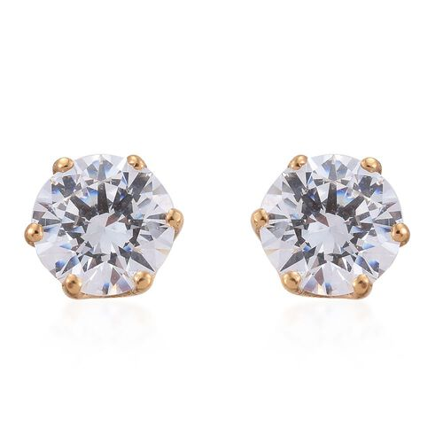 J Francis - 14K Gold Overlay Sterling Silver (Rnd) Stud Earrings (with Push Back) Made with SWAROVSKI ZIRCONIA.Stone Size 6mm