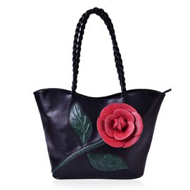 Botanical Collection Red 3D Floral Pattern Black Colour Tote Bag with External Zipper Pocket (Size 27x14.5 Cm)
