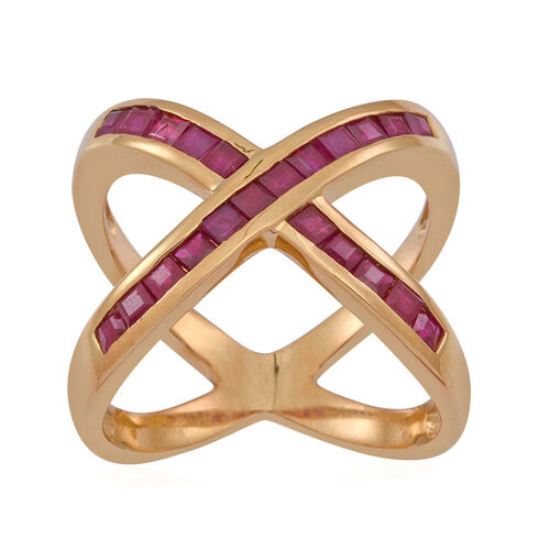 AAA Burmese Ruby (Sqr) Criss Cross Ring in 14K Gold Overlay Sterling Silver 1.500 Ct.