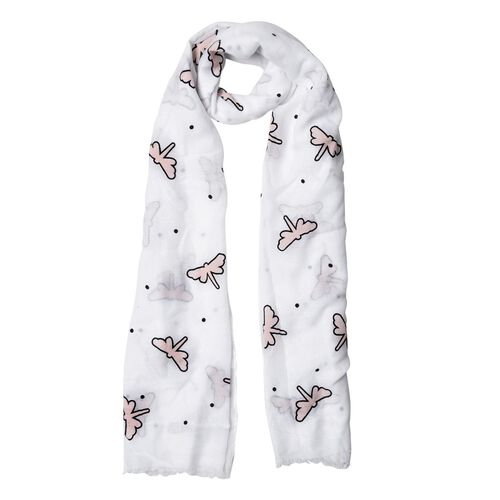 Dragonfly Pattern Beige and White Colour Scarf (Size 180x70 Cm)