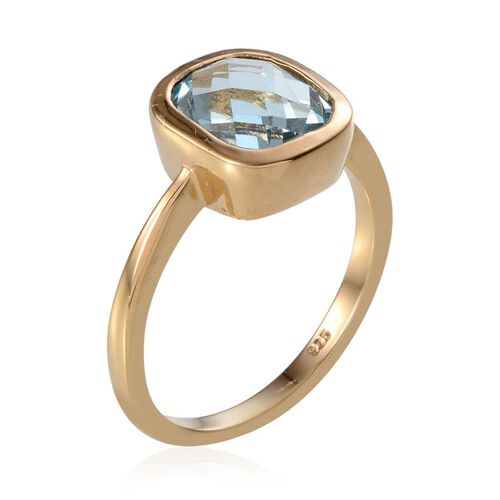 Sky Blue Topaz (Cush) Solitaire Ring in 14K Gold Overlay Sterling Silver 4.250 Ct.