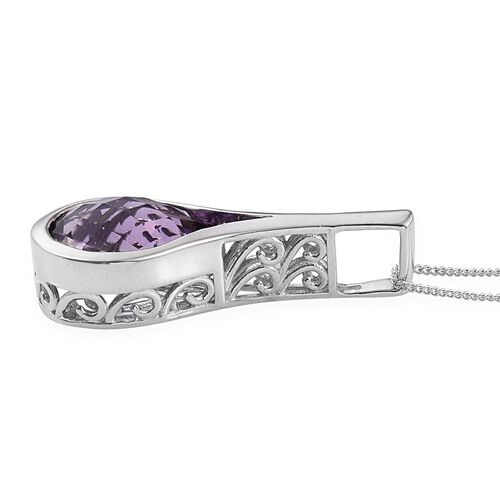 Amethyst (Pear) Solitaire Pendant With Chain in Platinum Overlay Sterling Silver 7.000 Ct.
