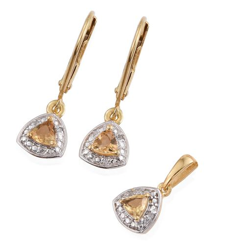 Citrine (Trl), Diamond Pendant and Lever Back Earrings in Yellow Gold Overlay Sterling Silver 0.650 Ct.