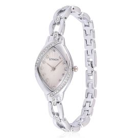 STRADA Japanese Movement White Dial with White Austrian Crystal Water Resistant Watch in Silver Tone with Stainless Steel Back and Chain Strap