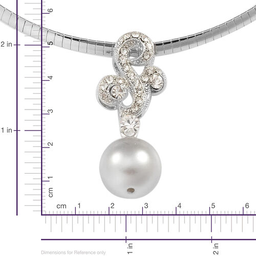 AAA White Austrian Crystal and Simulated White Pearl Necklace (Size 16.5 with Extender) and Earrings (with Push Back) in Silver Tone