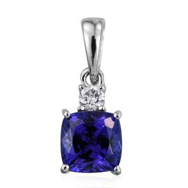 RHAPSODY 950 Platinum 1.50 Carat AAAA Tanzanite Cushion, Diamond VS E-F Pendant.