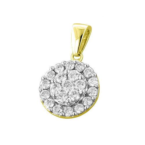 9K Y Gold SGL Certified Diamond (Rnd) (I3/G-H) Cluster Pendant 1.000 Ct.