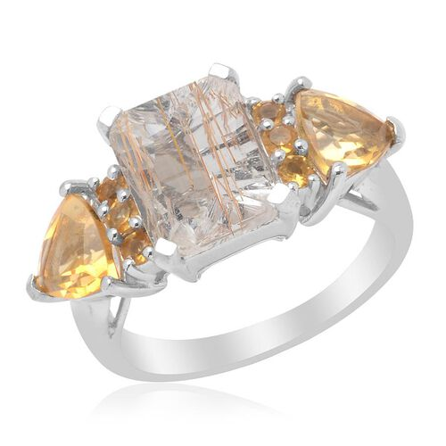 Aurelia Rutilated Quartz (Oct 2.50 Ct) Citrine Ring in Platinum Overlay Sterling Silver Ring  4.000 Ct.