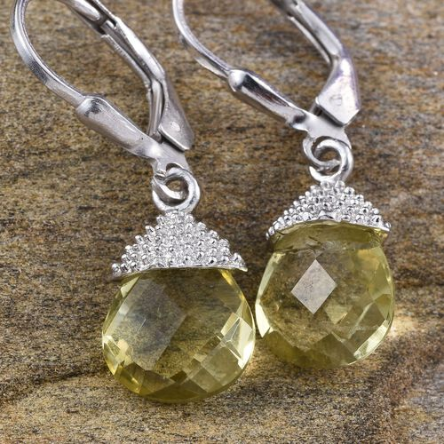 Natural Ouro Verde Quartz (Pear) Lever Back Earrings in Platinum Overlay Sterling Silver 4.500 Ct.