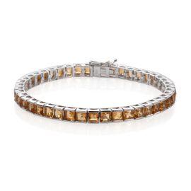 Citrine (Sqr) Bracelet (Size 7.5) in Platinum Overlay Sterling Silver 14.000 Ct.
