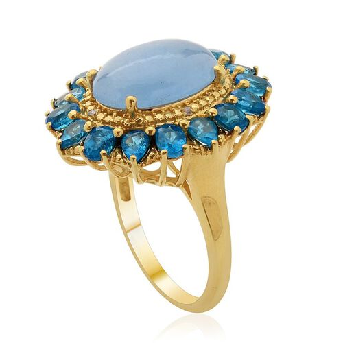 Blue Jade (Ovl 4.50 Ct), Malgache Neon Apatite and Diamond Ring in 14K Gold Overlay Sterling Silver 7.510 Ct.