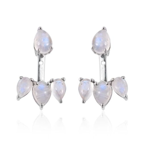 Natural Rainbow Moonstone (Pear) Jacket Earrings in Platinum Overlay Sterling Silver 5.750 Ct.