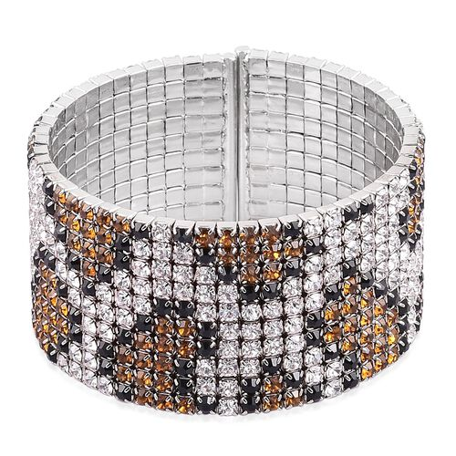 AAA Champagne, White and Black Austrian Crystal Python Snake Skin Cuff Bangle in Silver Tone