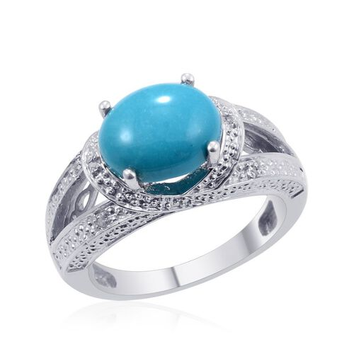 Arizona Sleeping Beauty Turquoise (Ovl 2.29 Ct), Diamond Ring in Platinum Overlay Sterling Silver 2.350 Ct.
