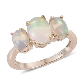 9K Y Gold Ring Ethiopian Welo Opal (Ovl 1.15 Ct) 3 Stone Ring 2.150 Ct.