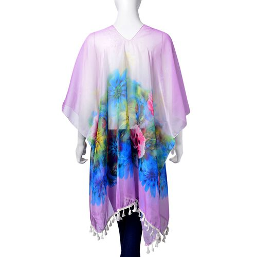 Blue, Purple and Multi Colour Floral Pattern Poncho with Tassels (Free Size)
