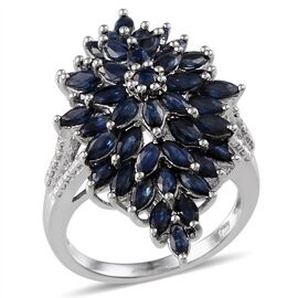Kanchanaburi Blue Sapphire (Mrq), Diamond Cluster Ring in Platinum Overlay Sterling Silver 4.810 Ct.