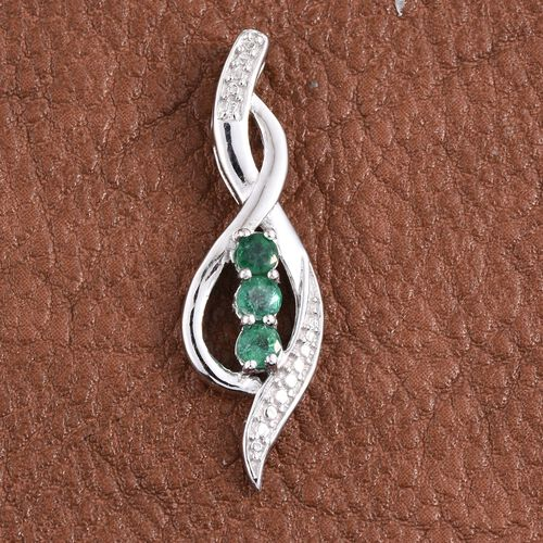 Kagem Zambian Emerald (Rnd) Trilogy Pendant in Platinum Overlay Sterling Silver 0.500 Ct.